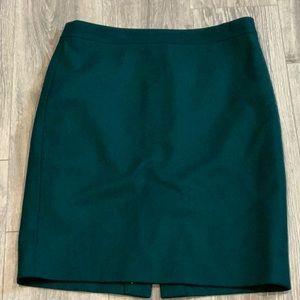 J.Crew Factory Hunter Green Wool Pencil Skirt 10